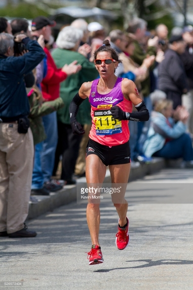 2013 Boston Marathon: Lisa Bentley, 44, Canada, approaches Heartbreak Hill